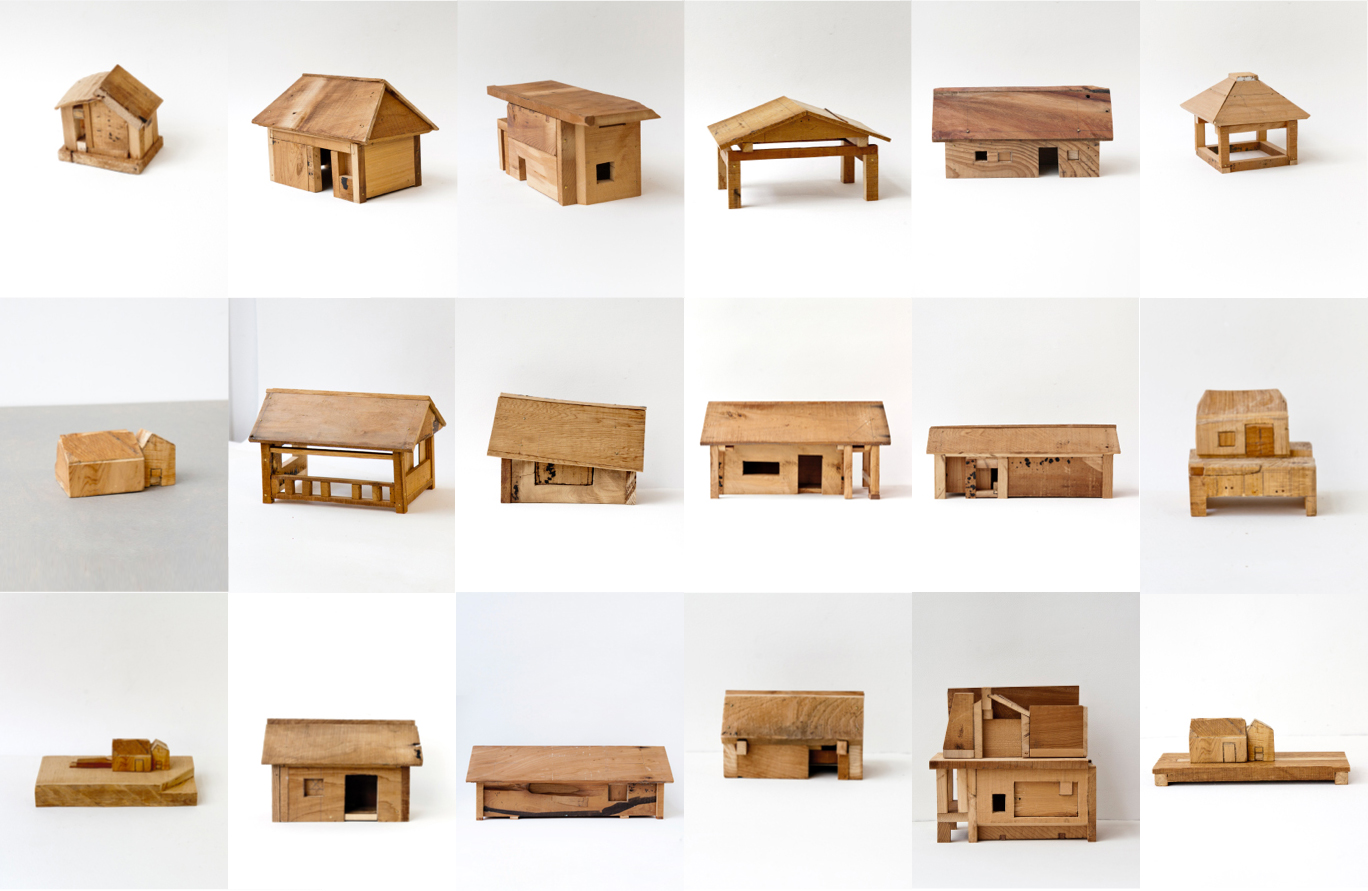 wooden houses in an image grid